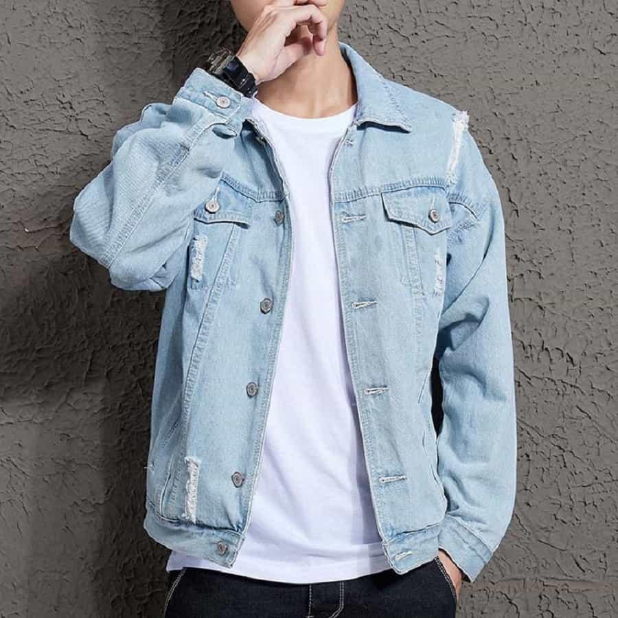 áo khoác jean xanh nhạt