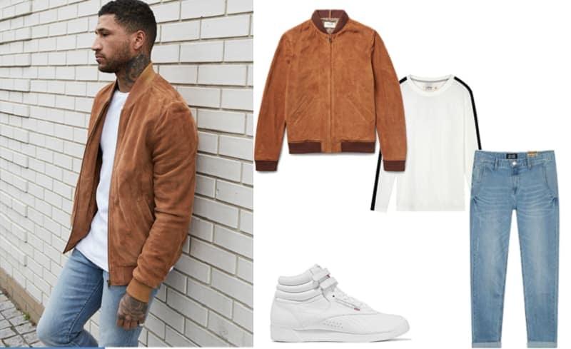 Quần jean xanh nhạt và áo phông trắng basic với giày Sneaker