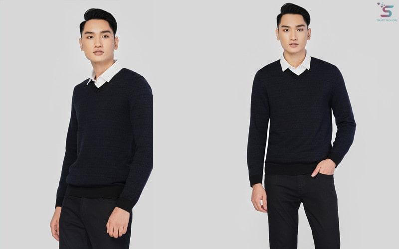 Quần tây đen phối áo sơ mi trắng và Sweater đen bên ngoài