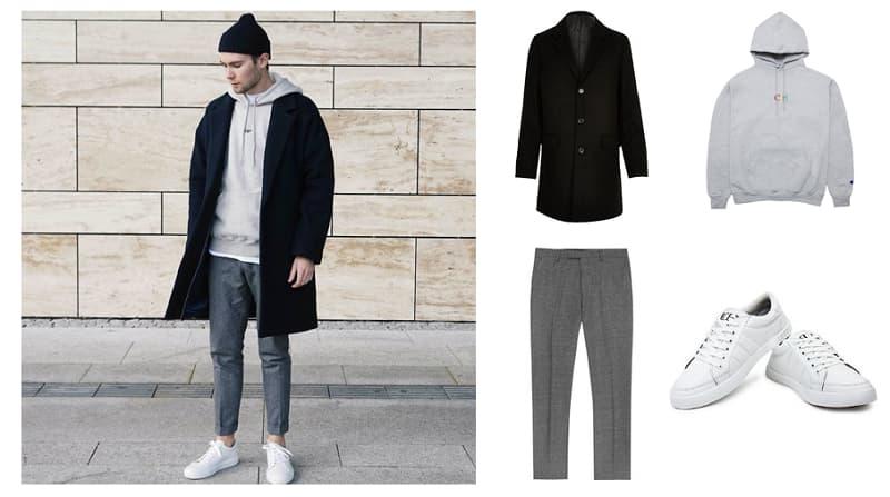 Phong cách Layer với quần tây, giày sneaker trắng, áo hoodie và măng tô