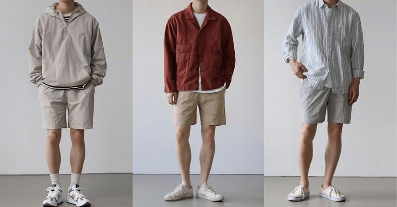 Phối quần short vải với giày trắng, áo phông và áo khoác ngoài