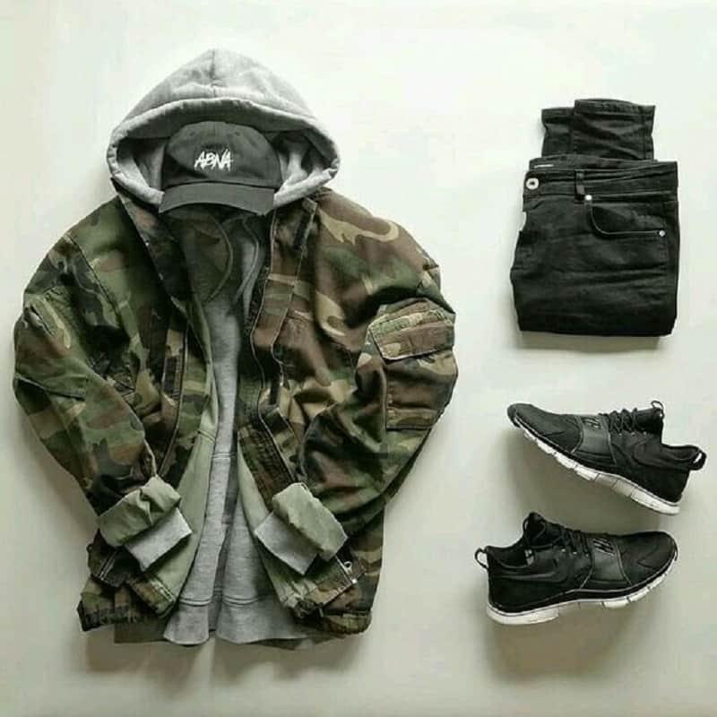 cách phối đồ dành cho các bad boy với áo khoác camo