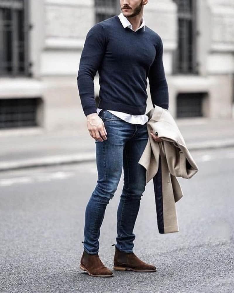 Quần Jean nam màu xanh đậm form slimfit phối áo sơ mi trắng và Sweater bên ngoài