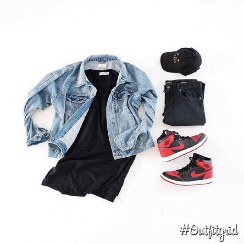 mix áo khoác jean với quần jean đen và jordan 1 high