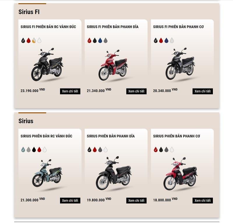 sirius là một mẫu xe máy giá rẻ cho sinh viên