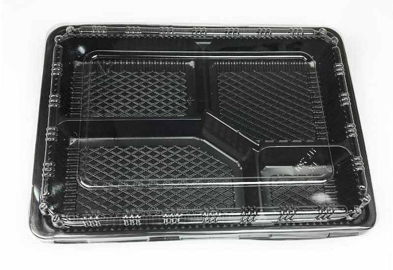 Mẫu hộp nhựa đựng cơm văn phòng màu đen 4 ngăn