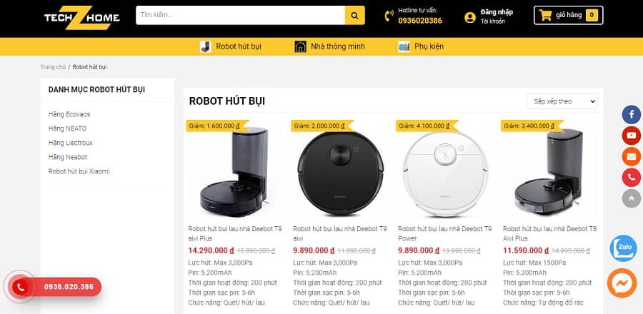 địa chỉ bán robot lau nhà techz home