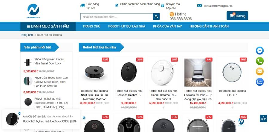mua robot lau nhà tại Nova Digital